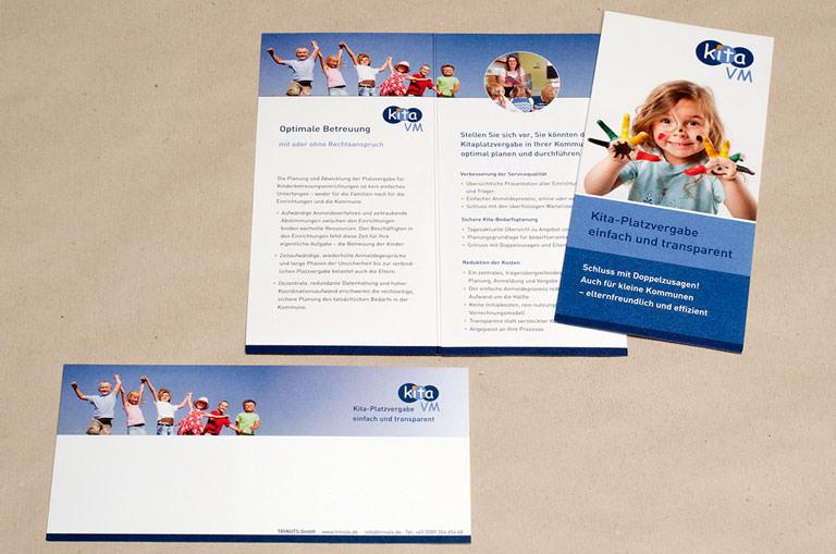 Gestaltung der Kommunikationsmittel für KitaVM, ein Produkt der Trinuts GmbH