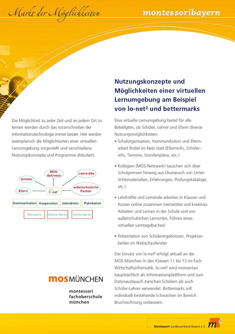 Montessori Landesverband Bayern - Schautafel MOS Montessori Oberschule Konzept