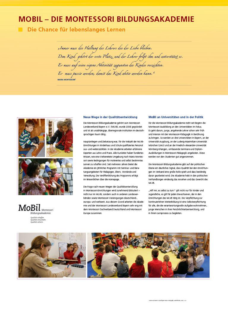 Montessori Landesverband Bayern - Schautafel MoBil Bildungsakademi