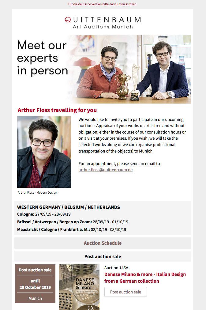 Newsletter Quittenbaum Kunstauktionen